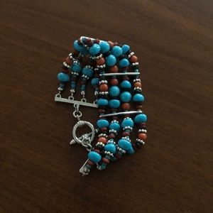Vintage Turquoise and Brown Beaded Bracelet